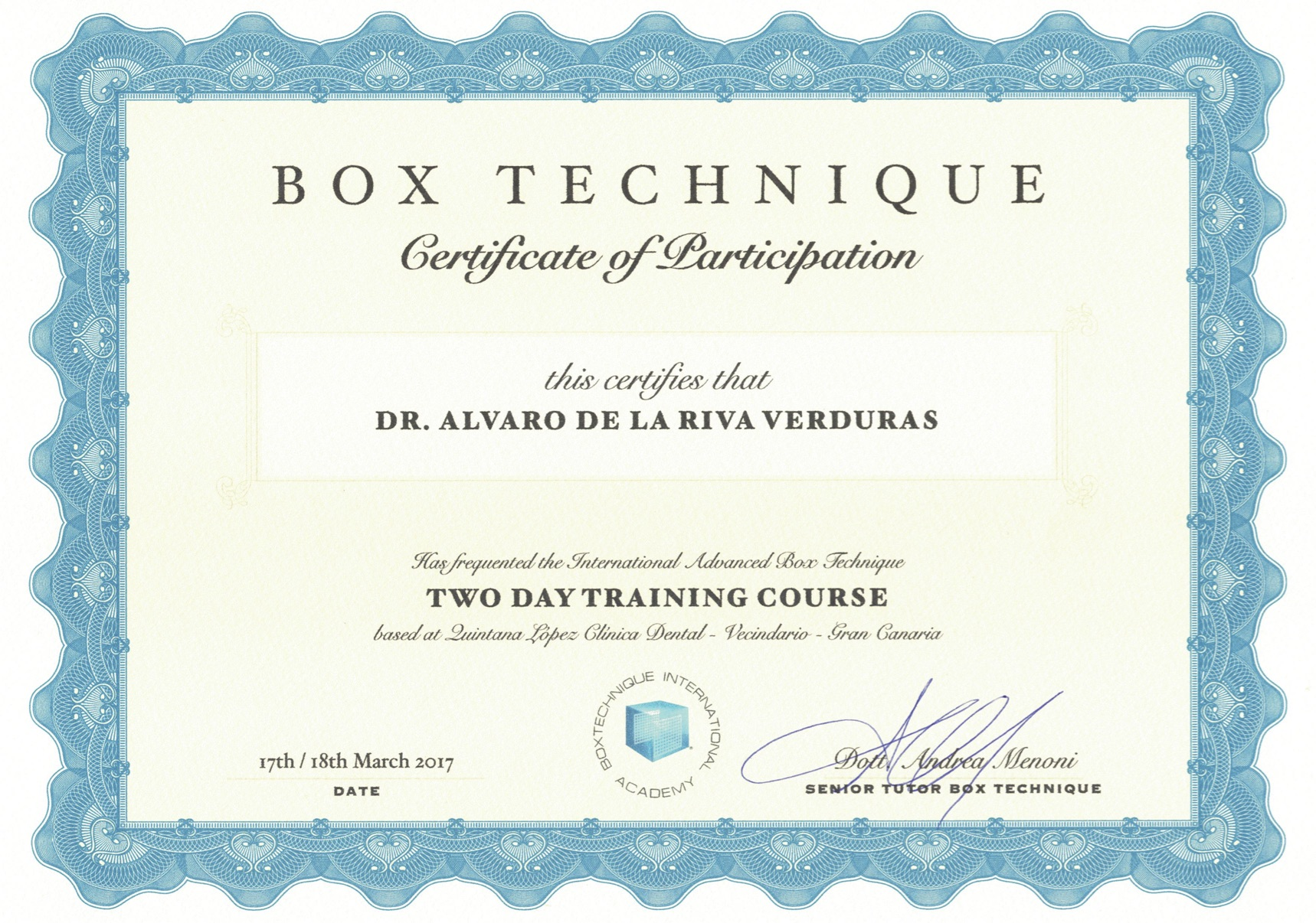 certificado box technique