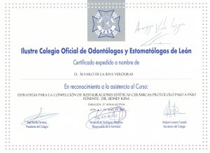 certificado de odontologo y estomatologos de leon